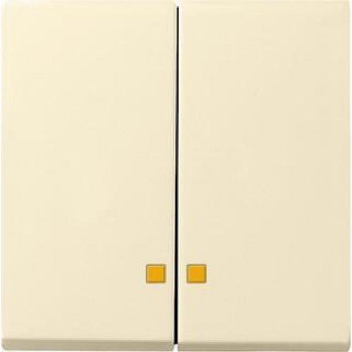 Лицевая панель Gira System 55 выключателя двухклавишного с подсветкой кремовый глянцевый 063101