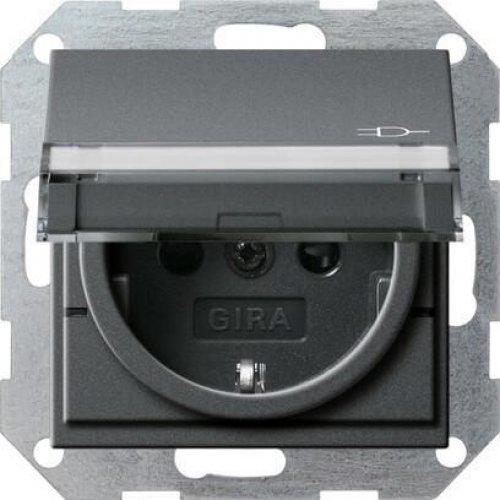 Розетка Gira System 55 Schuko с/з со шторками крышкой 16A 250V безвинтовой зажим антрацит 276228