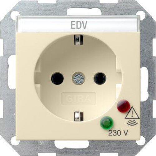 Розетка Gira System 55 Schuko с защитой от перенапряжения с/з 16A 250V безвинтовой зажим кремовый глянцевый 045101