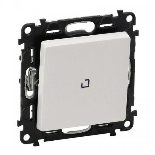 Механизм выключателя кнопочный 1-кл. Valena Life 6А 250В с подсветкой с лиц. панелью безвинт. зажимы бел. Leg 752412