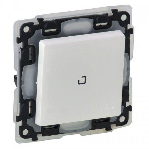 Механизм переключателя 1-кл. СП Valena Life 10АХ IP44 250В с подсветкой с лиц. панелью безвинт. зажимы IP44 бел. Leg 752167