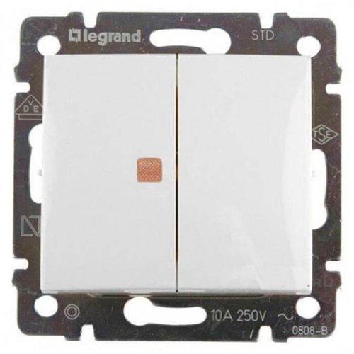 Механизм выключателя 2-кл. СП Valena 10А IP31 с оранж. инд. бел. Leg 774445