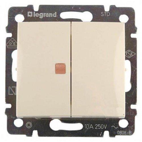 Механизм выключателя 2-кл. СП Valena 10А IP31 с оранж. инд. сл. кость Leg 774345