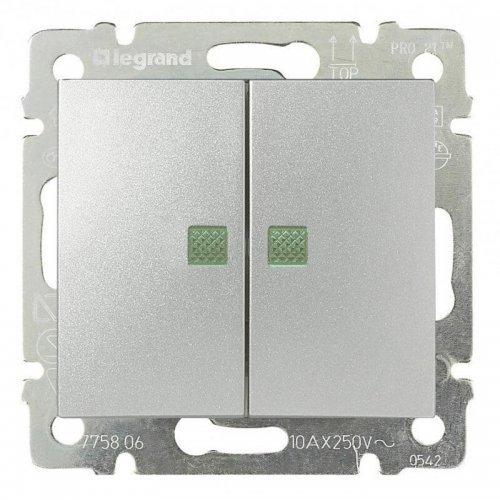 Переключатель 2-кл. СП Valena на 2 напр. 10А с подсветкой алюм. Leg 770212