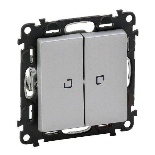 Механизм выключателя 2-кл. СП Valena Life 10А IP20 250В 10АХ с подсветкой с лиц. панелью алюм. Leg 752628