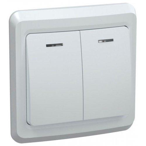 Выключатель 2-кл. СП Вега 10А IP20 ВС10-2-1-ВБ с индик. бел. ИЭК EVV21-K01-10-DM