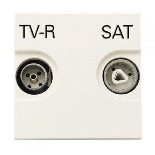 Розетка TV-R-SAT 2мод. Zenit с накладкой бел. ABB N2251.3 BL