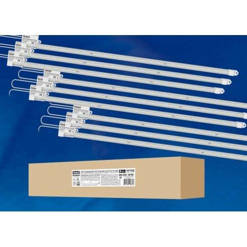 Светильник светодиодный для растений ULY-P90-10W/SPFR/K CLEAR AC220V KIT09 600мм IP65 линейный спектр для фотосинтеза (уп.9шт) Uniel UL-00003852