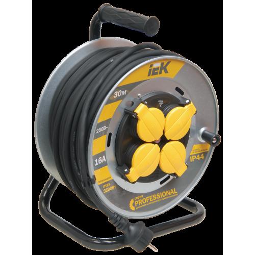 Удлинитель силовой 4 розетки шнур 30м КГ 3x2.5 УК30 с термозащитой IP44