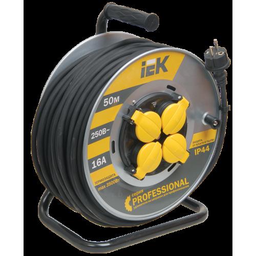 Удлинитель силовой 4 розетки шнур 50м КГ 3x1.5 УК50 с термозащитой IP44