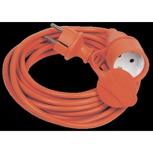 Шнур УШ-01РВ оранжевый с вилкой и розеткой 2Р+РЕ/20 метров 3х1мм2 IP44