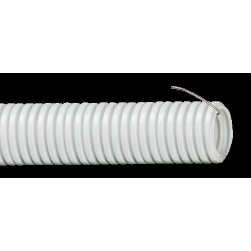 Труба гофрированная ПВХ 20мм с протяжкой серая (10м)