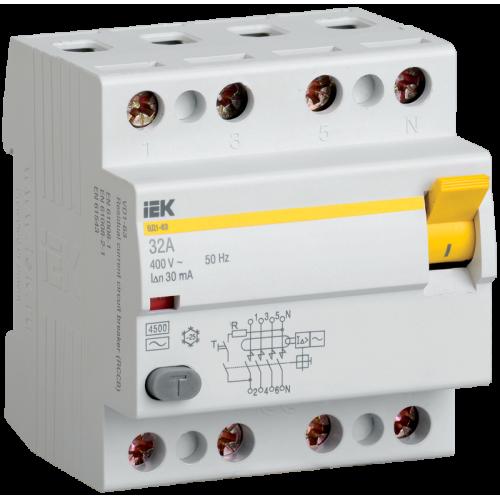 Выключатель дифференциального тока (УЗО) 4п 63А 30мА ВД1-63 АС