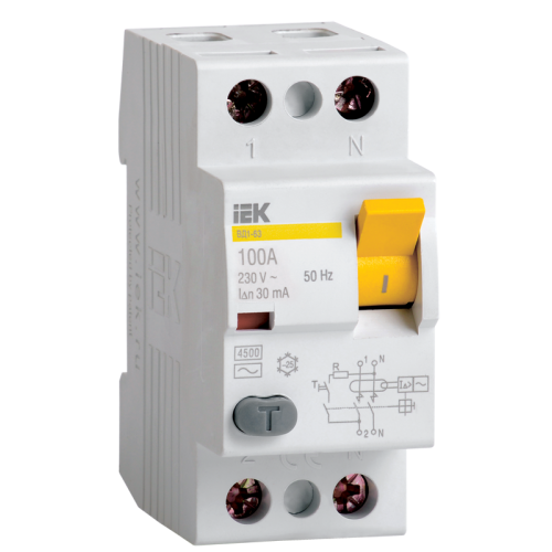Выключатель дифференциального тока (УЗО) 2п 63А 100мА ВД1-63 АС