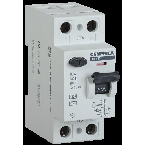 Выключатель дифференциального тока (УЗО) ВД1-63 2Р 16А 30мА GENERICA