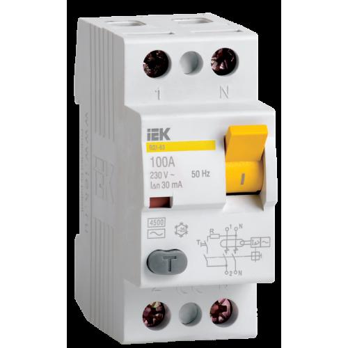 Выключатель дифференциального тока (УЗО) 2п 63А 30мА ВД1-63 АС