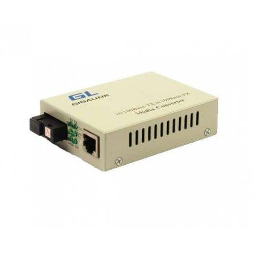 Конвертер UTP 100Мбит/с WDM LFP SM SC Tx:1310/Rx:1550 18дБ до 20км GIGALINK GL-MC-UTPF-SC1F-18SM-1310