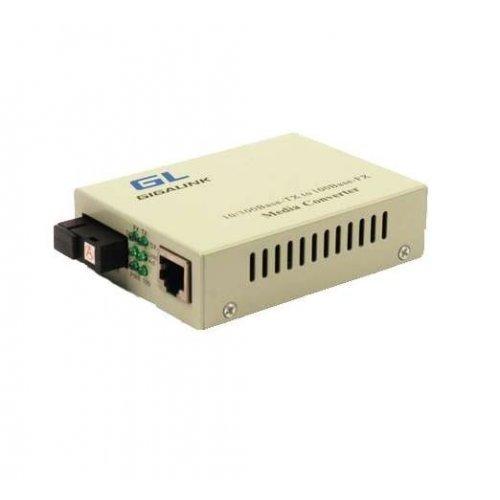 Конвертер UTP 100Мбит/с WDM без LFP SM SC Tx:1550/Rx:1310 18дБ до 20км GIGALINK GL-MC-UTPF-SC1F-18SM-1550-N