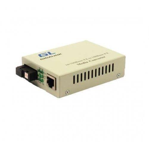 Конвертер UTP. 100Мбит/с WDM LFP SM SC Tx:1550/Rx:1310 18дБ до 20км GIGALINK GL-MC-UTPF-SC1F-18SM-1550