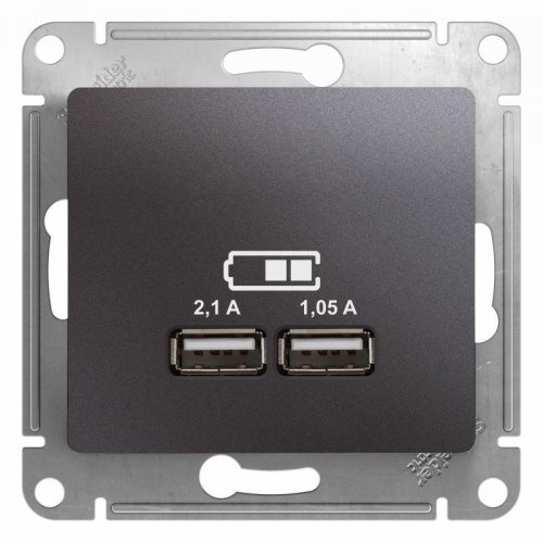 Механизм розетки USB 1-м СП Glossa 5В/2100мА 2х5В/1050мА графит SchE GSL001333