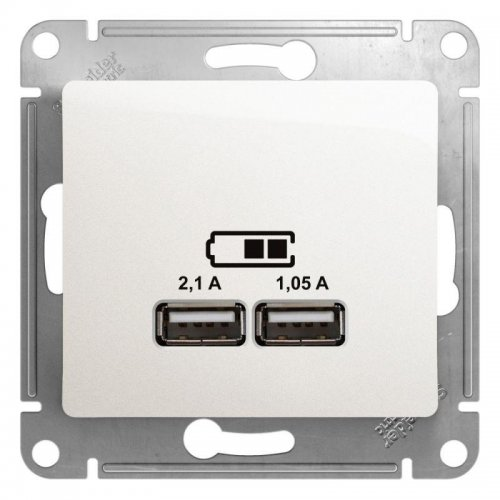 Механизм розетки USB 1-м СП Glossa 5В/2100мА 2х5В/1050мА перламутр SchE GSL000633
