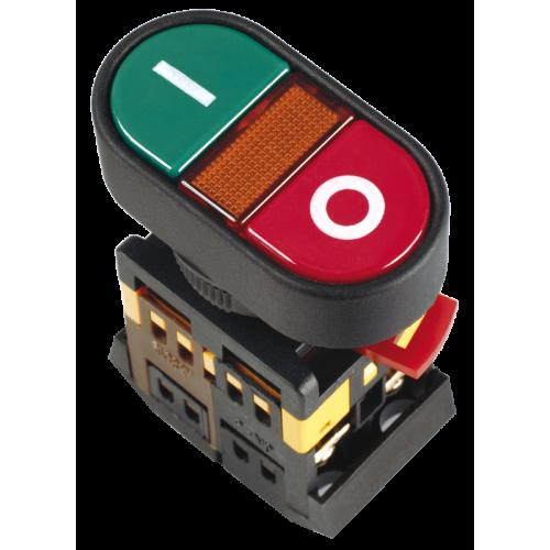 Кнопка APBB-22N Пуск-Стоп с подсветкой неон 1з+1р 240В