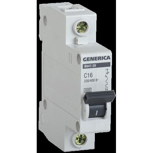 Выключатель автоматический однополюсный 16А C ВА47-29 GENERICA 4.5кА