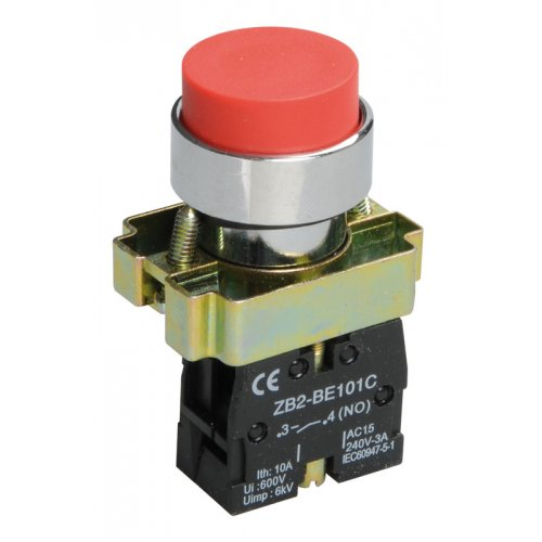 Кнопка управления LAY5-BA41 без подсветки красная 1з