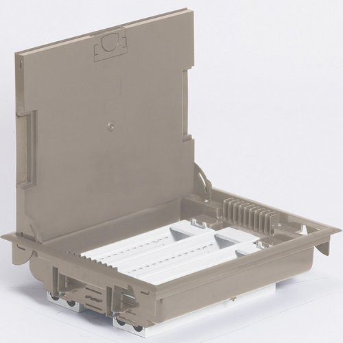 Коробка напольная 24 модулей глубина 105мм бежевая крышка для ковров/паркетного пола