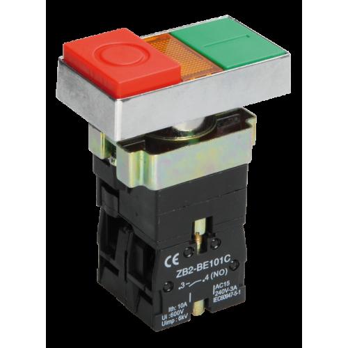 Кнопка управления двойная LAY5-BW8465 I-O с подсветкой 240В
