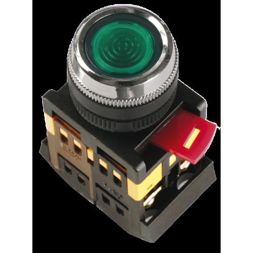 Кнопка зеленая ABLFS-22 1з+1р плоская с подсветкой неон 240В