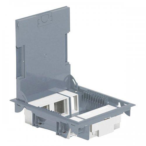 Коробка напольная 10м серая глубина 65мм с крышкой сталь