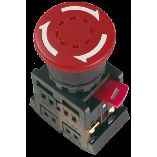 Кнопка красная с фиксацией AE-22 Гриб 240В 1з+1р 240В