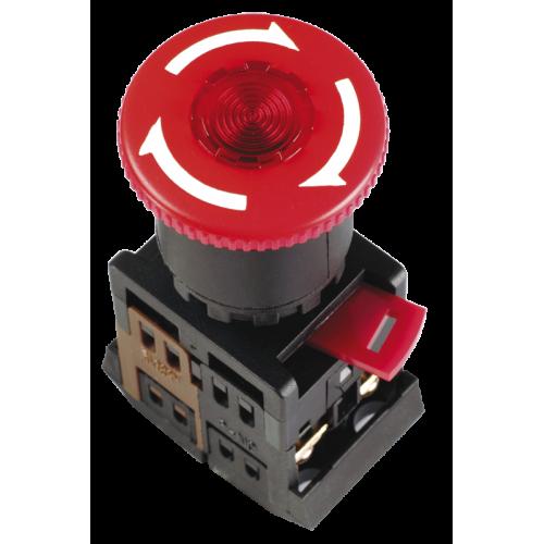 Кнопка красная с фиксацией ANE22 Гриб с подсветкой неон 1з+1р 240В