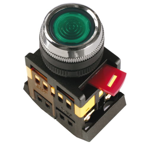 Кнопка красная ABLFS-22 1з+1р плоская с подсветкой неон 240В