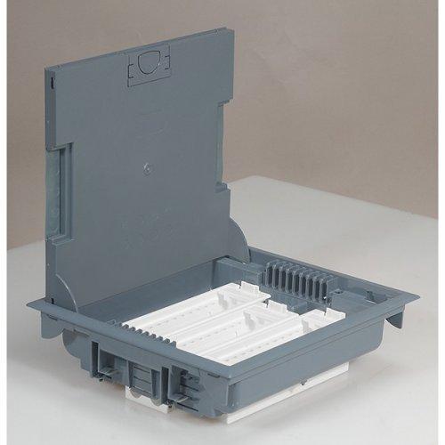Коробка напольная с крышкой для коврового покрытия 18 модуля серая