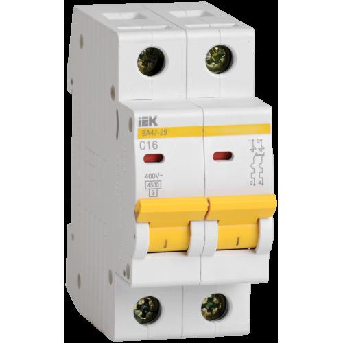 Выключатель автоматический двухполюсный 16А С ВА47-29 4.5кА