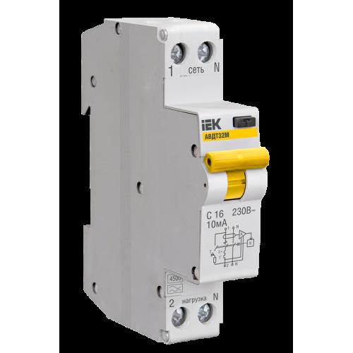 Выключатель автоматический дифференциальный АВДТ-32 1п+N 10А 30мА C