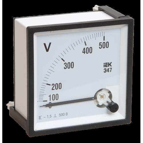 Вольтметр 500В 72х72 AC непосредственного включения Э47