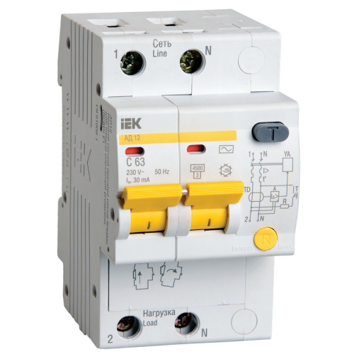 Выключатель автоматический дифференциальный АД-12 2п 16A C 30мA