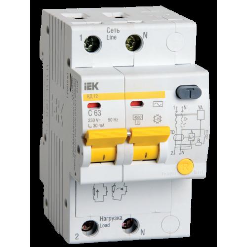 Выключатель автоматический дифференциальный (АВДТ) 2п 50А 100мА АД-12 С