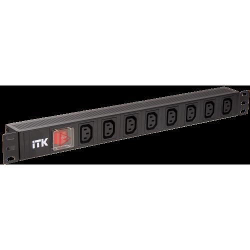 Блок розеток ITK 8 розеток С13 с LED выключателем 1U вилка шнур 2м немецкий стандарт