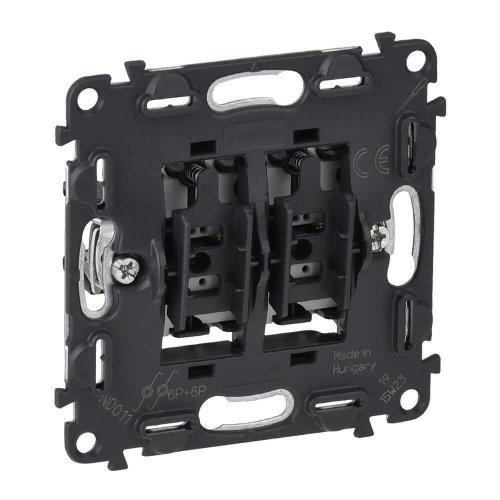 Механизм выключателя кнопочный 2-кл. Valena In'matic 6А 250В безвинт. зажимы Leg 752018