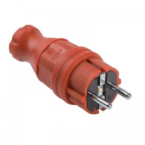 Вилка прямая ОМЕГА ВБп3-1-0м IP44 каучук красн. ИЭК PKR01-016-2-K04