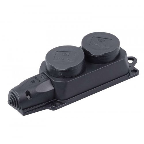 Розетка (колодка) 2-м Омега РБ32-1-0м с защ. крышкой IP44 каучук ИЭК PKR62-016-2-K02