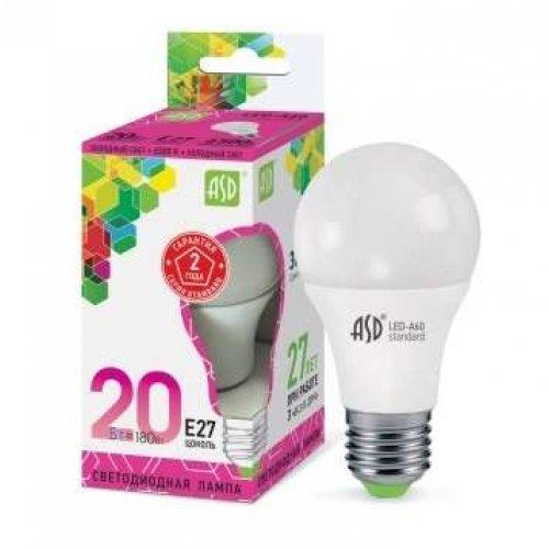 Лампа светодиодная LED-A60-standard 20Вт грушевидная 230В E27 6500К 1800Лм ASD 4690612014210