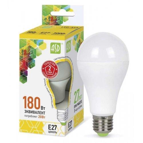 Лампа светодиодная LED-A60-standard 20Вт грушевидная 3000К тепл. бел. E27 1800лм 160-260В ASD 4690612004198