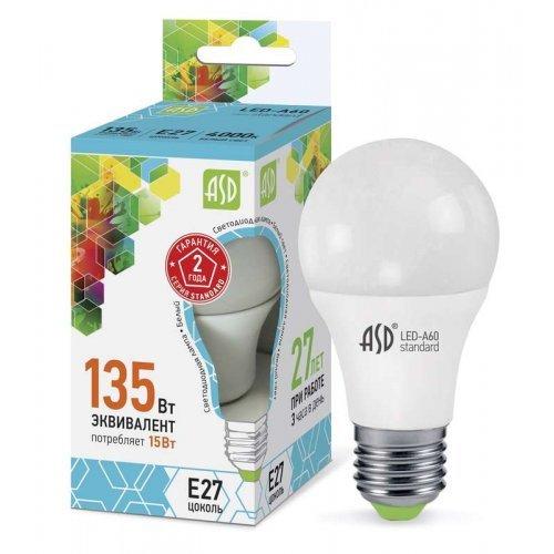 Лампа светодиодная LED-A60-standard 15Вт грушевидная 4000К бел. E27 1350лм 160-260В ASD 4690612002101