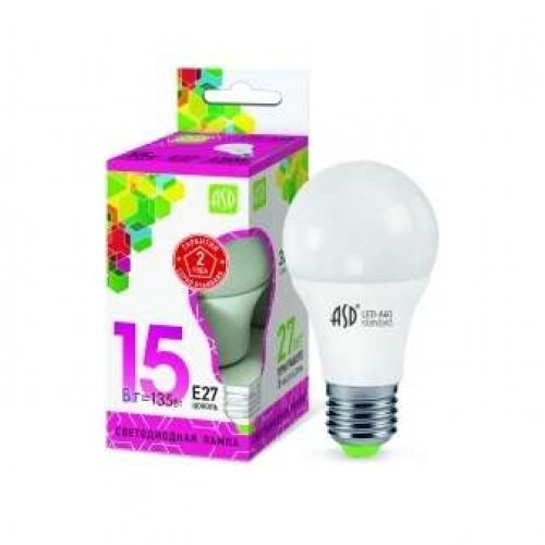 Лампа светодиодная LED-A60-standard 15Вт грушевидная 230В E27 6500К 1350Лм ASD 4690612014203