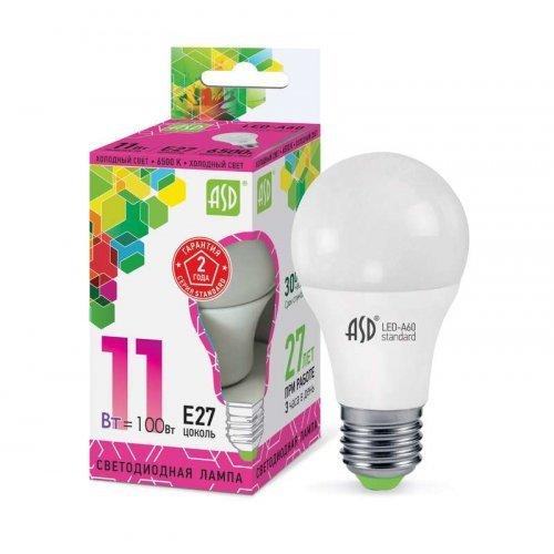 Лампа светодиодная LED-A60-standard 11Вт грушевидная 230В E27 6500К 990Лм ASD 4690612014197
